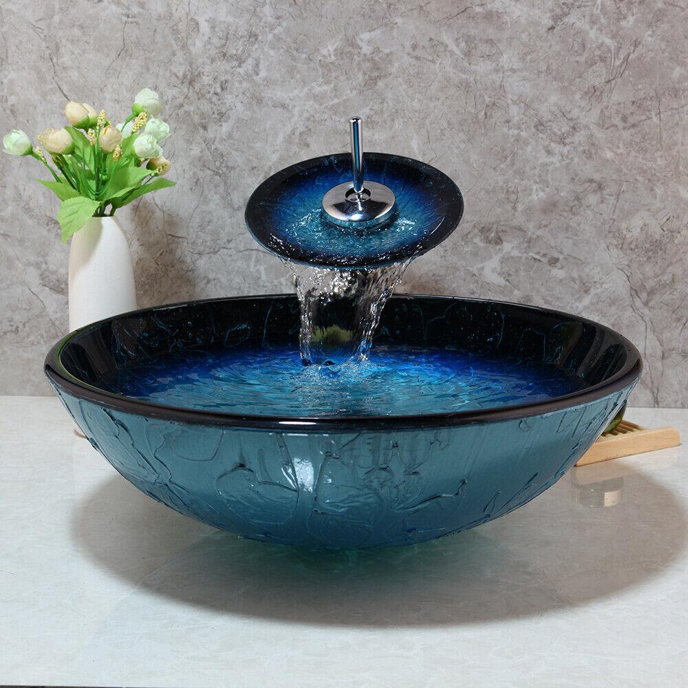 European Bath Bathroom Tempered Glass Vessel Sink Bowl w// Faucet Tap Mixer