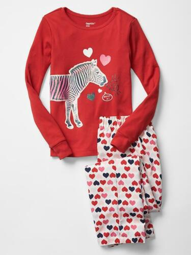 GAP Kids Love Graphic 2pc Pajama PJ Sleep Set Hearts Top Pants 4 10 12 NWT $40
