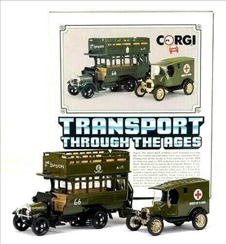 RARE CORGI TRANSPORT C88 à travers les âges thornycroft bus Model T van militaire