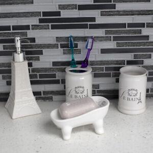 Le Bain Paris Eiffel Tower 4 Piece Ceramic Bath Accessory Set, White EBY65515