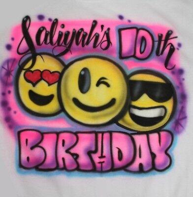 Personalized Girls Emoji Birthday Party T SHIRT 5th 10th 6th 4th 7th 8th 9th 4th