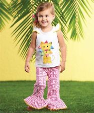 Mud Pie Baby Girl Two Piece Set Safari Lion Applique Pink/White Pants  NEW