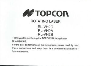 New Topcon Rotating Level RL-VH2G/A/B Instruction Manual