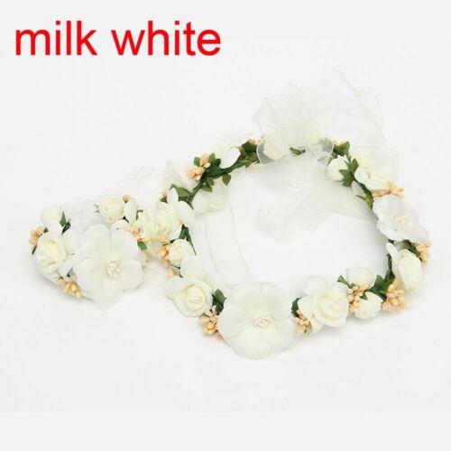Tiara Wedding Headband Set Adjustable Crown Garland+Hand Flower Ribbon Wreath