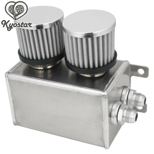 Universal Aluminum Oil Catch Tank Reservoir with Breather Filter Baffled Silver
