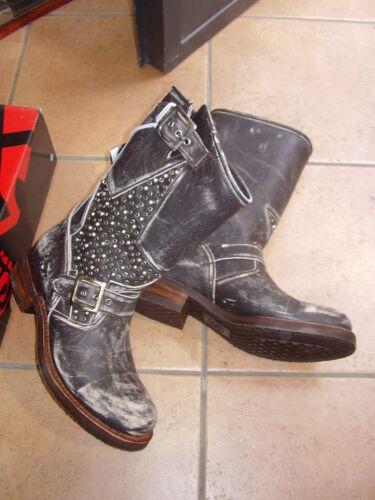 Suola Pelle Boots Cucita Moto Biker Borchie Sendra Ultimi Stella Stivali Vera 840WRnx0