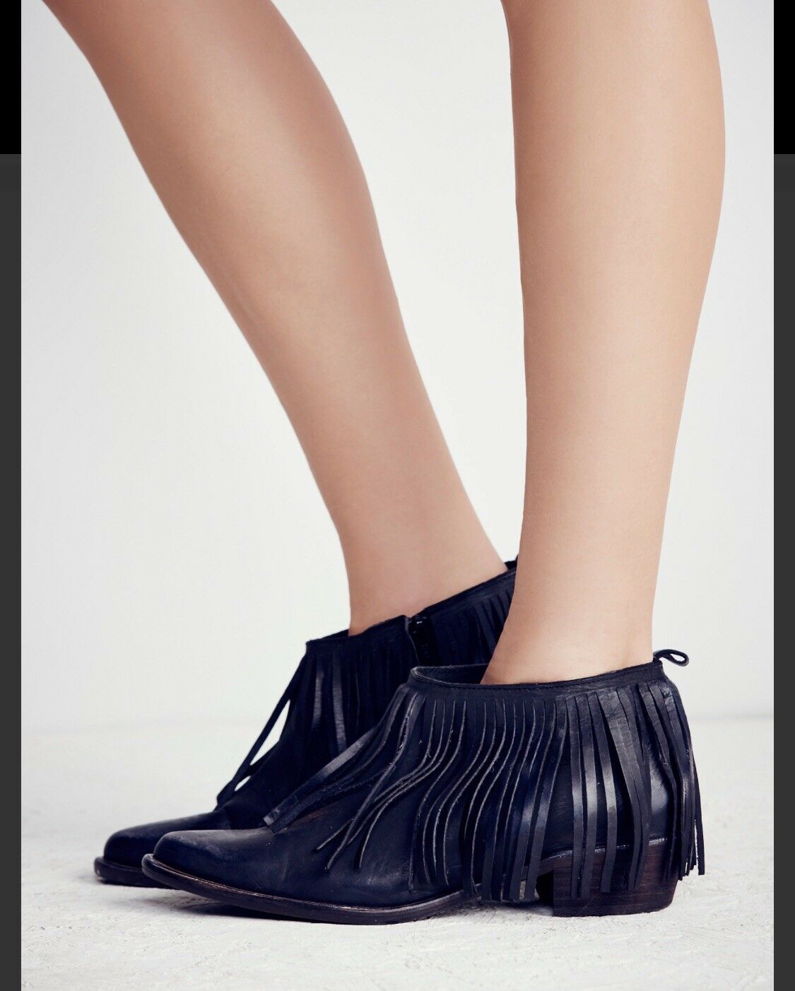 New Free People Wildfire Fringe Low Ankle Boot - Size 38