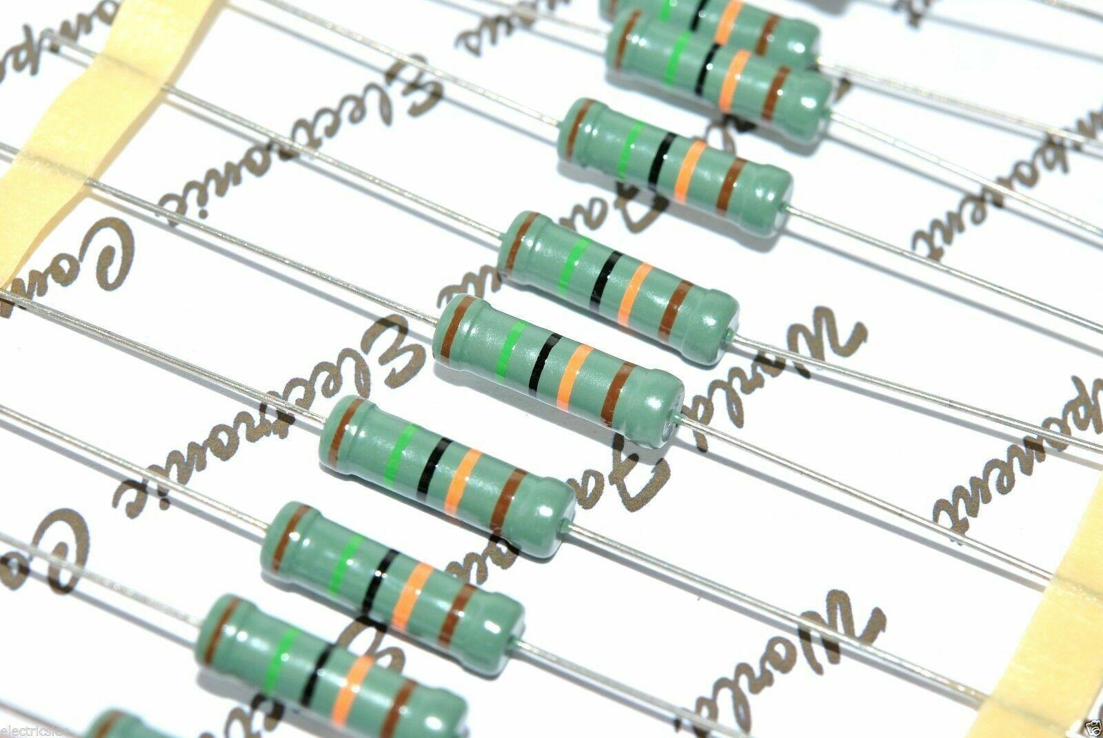 2pcs PHILIPS MR52 2K 1W 1/% 500V Metal Film Resistor Non-RoHS NOS