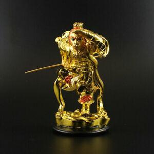 12CM-Chinese-Resin-Gild-Handsome-Monkey-King-Sun-Wukong-Buddha-Statue-Ornament