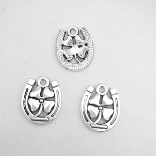 8Pcs clovers Flower Tibetan Silver Charms Pendant Jewelry