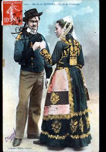 QUIMPER-29-NOCE-BRETONNE-maries-en-COSTUME-TRADITIONNEL-en-1910