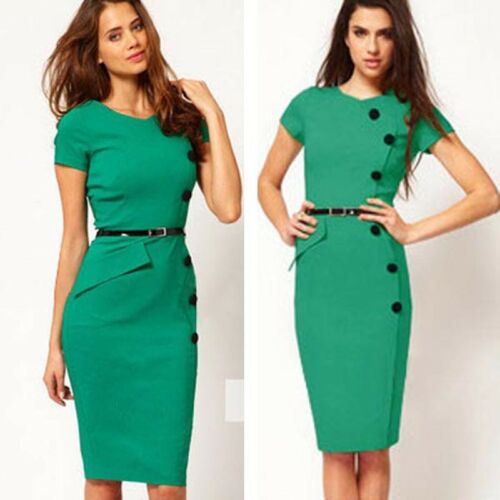 Retro Evening Bodycon Career Business Party Work Pencil Dress Sheath Interview