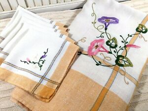 Vintage-Country-Golden-Check-Tablecloth-amp-Napkin-Set-Embroidered-Morning-Glory