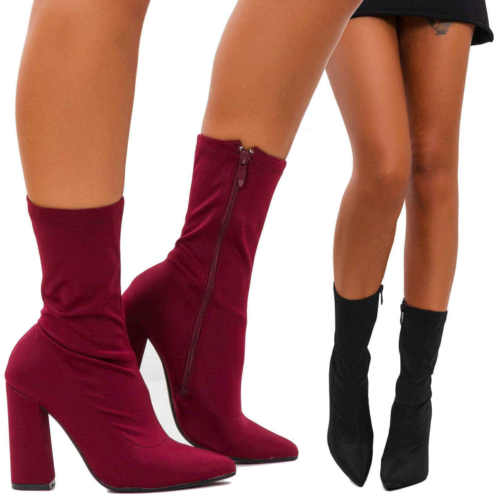 Women's shoes boots ankle boots suede elastic heels L7AX983-3