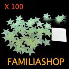 Lot 100 étoiles phosphorescente lumineuse la nuit pour chambre d'enfant déco