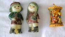 Lot 3 1970s Candles Alpine Originals Children & Wagon,Old Fashioned Boy & Girl