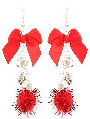 Zest Christmas Balls Bows & Bells Dangly Earrings for Pierced Ears Red & Silver