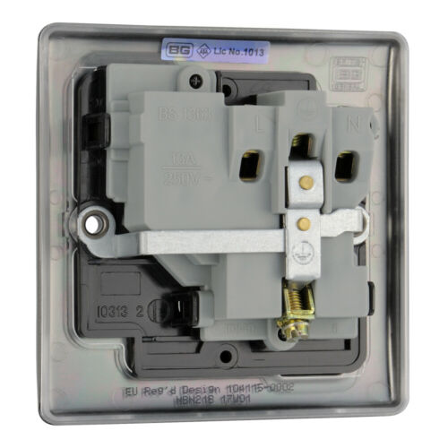 BG Nexus en métal NBN21B-Noir Nickel Chrome Unique Plug Socket 1 Gang 13 Amp