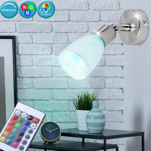RGB LED Wand Chrom Lampe Wohnraum Spot Strahler schwenkbar Dimmer FERNBEDIENUNG
