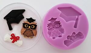 WISE-OWL-GRADUATION-AND-SCROLL-SILICONE-MOULD-FOR-CAKE-TOPPERS-CHOCOLATE-ETC