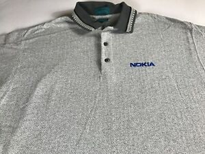 Nokia-Polo-Shirt-VTG-Mens-XL-Tall-Long-Powertel-USA-Made-Golf-Casual-Cotton-Guys