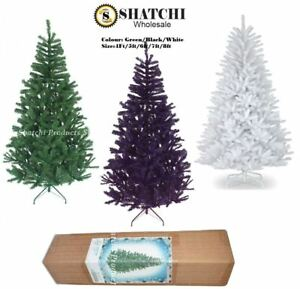 Black Christmas Tree.Details About Artificial Christmas Tree Green Black White Xmas Tree Home Decorations 4ft 8ft