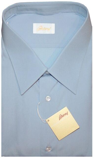 $575 NEW BRIONI SKY BLUE BARREL CUFF DRESS SHIRT BIG & TALL EU 47 18.5