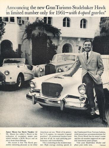 Vintage Advertisement Ad A83-B 1961 Studebaker Gran Turismo James Mason
