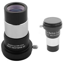 """Durable 1.25"""" 2X Double Barlow Lens Fully Multi-coated For Telescope Eyepiece ES"""
