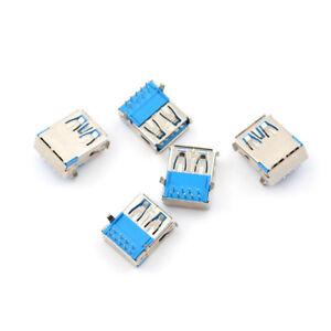 5Pcs USB 3.0 Type A Female Right Angle 9Pin DIP Socket PCB Solder Connector LDUK 604267692079