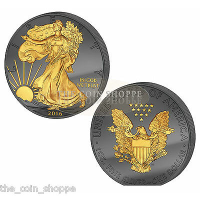 * SILVER EAGLE  GOLDEN ENIGMA PREMIUM 2016 1 oz Silver Coin - RUTHENIUM 24K GOLD