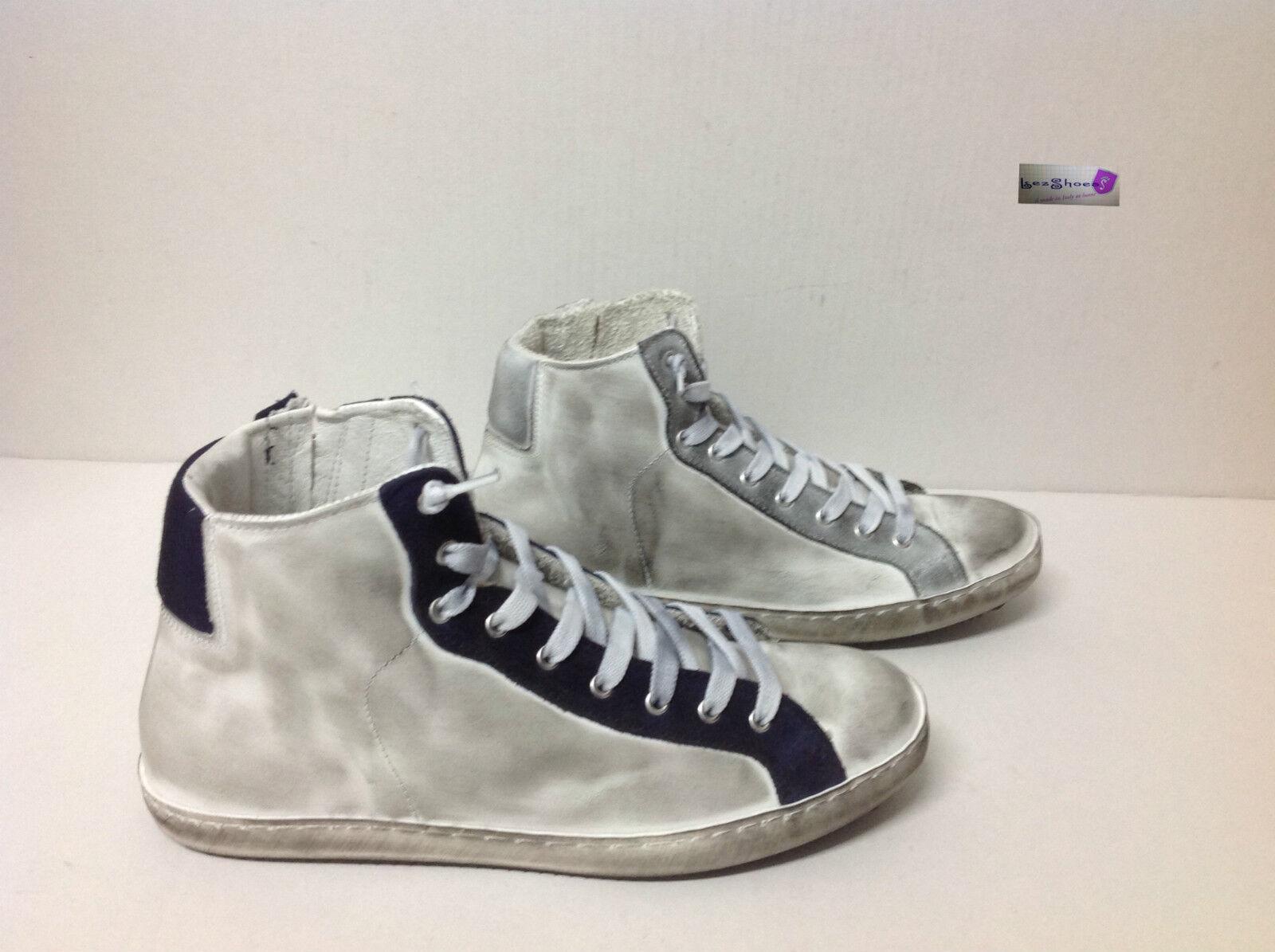 Scarpe bianco uomo sneakers alte stivaletto vera pelle bianco Scarpe ghiaccio blu Via Condotti 592092
