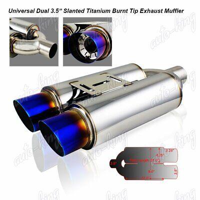 "3.5/"" Dual Burnt Slant Tip Stainless Steel Weld-on Muffler 2.5/"" Inlet Universal"