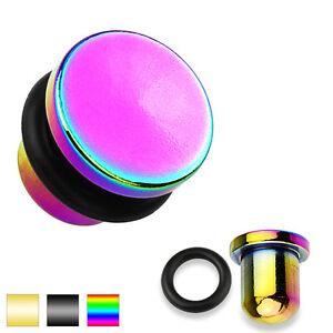Flesh-Tunnel-Single-Flared-Flat-Top-Plug-316-L-Steel-Titan-Ip-Ear-Piercing