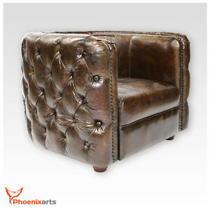 Vintage echtleder chesterfield ledersessel braun design for Design club sessel