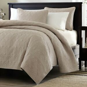 Full-Queen-size-Khaki-Light-Brown-Tan-Coverlet-Quilt-Set-with-2-Shams