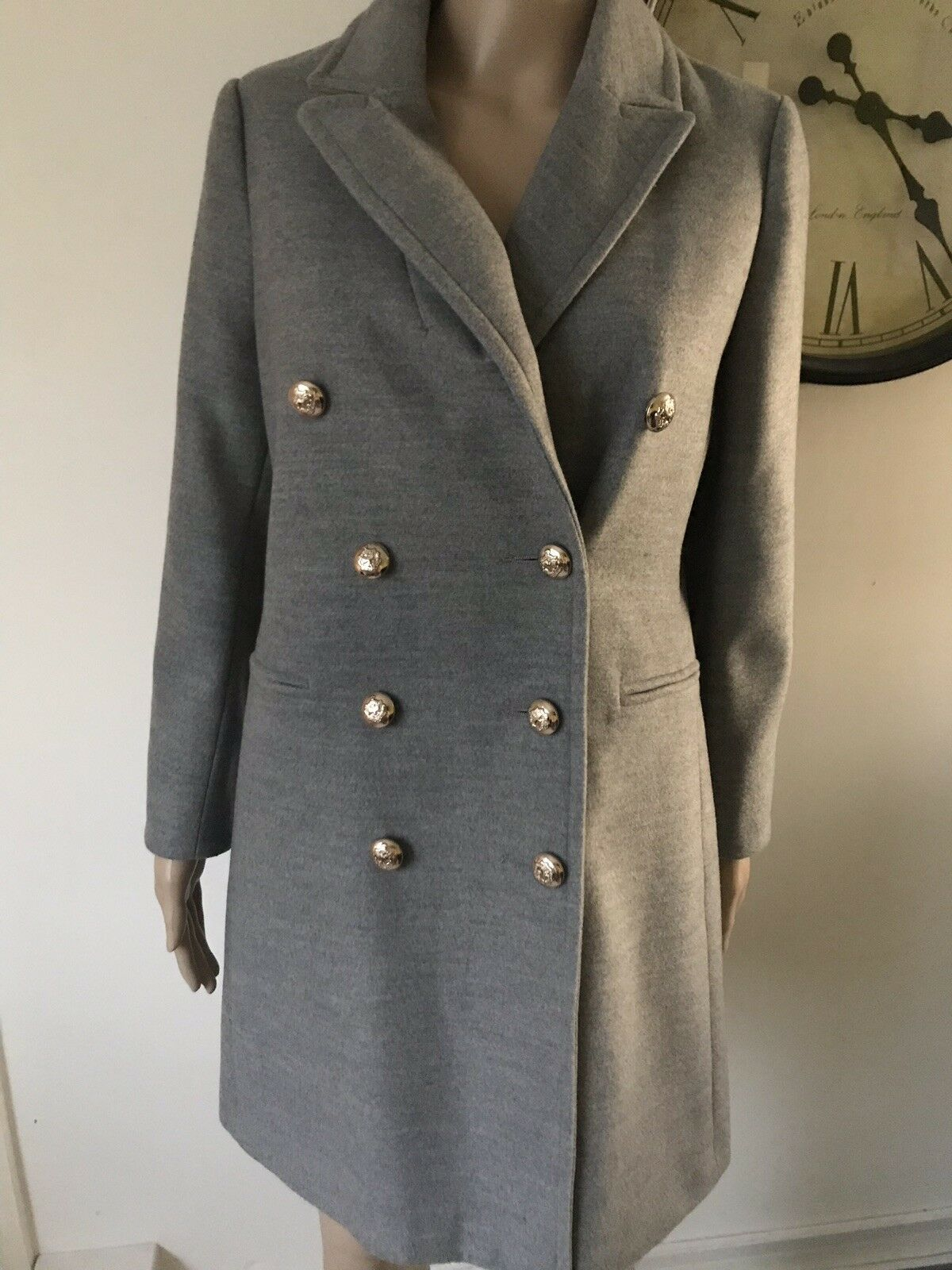 Topshop Double Breasted Gold Look Buttons Coat in grau UK 10 EU 38 US 6