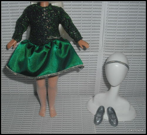 OUTFIT BARBIE DOLL HOLIDAY SISTERS GREEN SILVER DRESS HEADBAND STOCKING /& SHOES
