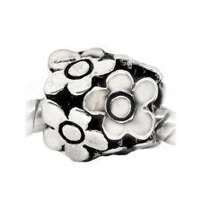Flowers Daisy Garden Bouquet Spacer Bead for Silver European Charm Bracelets