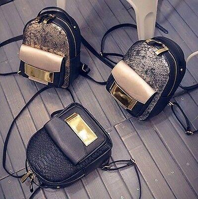 "Damenrucksack Mini-rucksack ""glow-effekt / Krokoprägug"" Lederrucksack Backpack"