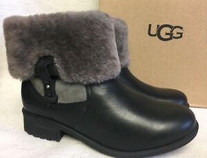 45e4f9e4516 Details about UGG Australia Chyler Black Leather Cuff Sheepskin Ankle Short  Boots size 1012524