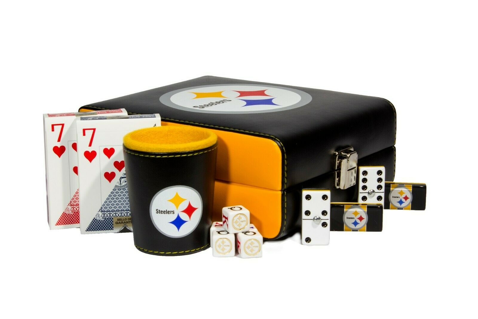 Pittsburgh Steelers Deluxe Set 3 jeux  Domino, dés tasse, 2 poker cartes