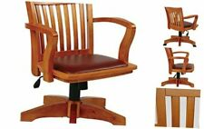 Deluxe Wood Bankers Desk Chair With Brown Vinyl Padded Seat Fruit Wood