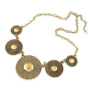 Superb-Large-Bronze-Metal-Disc-Bib-Statement-Necklace-Premium-Quality