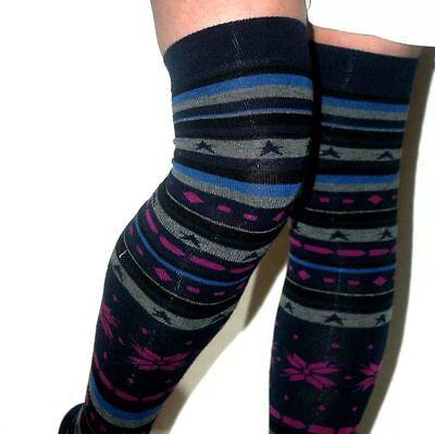 Ladies Fair Isle//Snowflake Over Knee Pattern sock on Blue