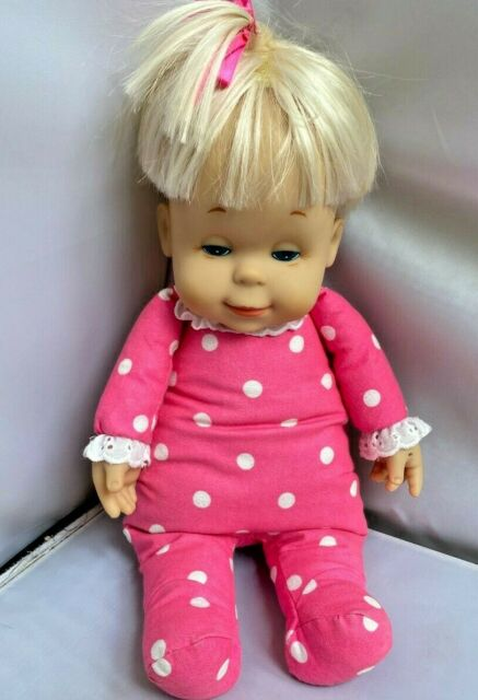 VTG 1999 MATTEL BABY DROWSY DOLL GIRL BLONDE HAIR PINK PJ'S TALKS EXCELLENT COND