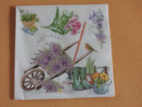 5 servilletas Gardening lavanda carretilla petirrojo serviettentechnik gummist