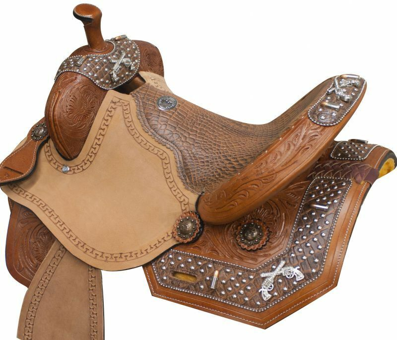 Guns N' Ammo Barrel Saddle with Brown Alligator Print Overlay 14  15  16  NEW