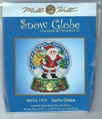 MILL HILL SNOW GLOBE ORNAMENTS Beaded Cross Stitch Kit SNOWMAN GLOBE 1933