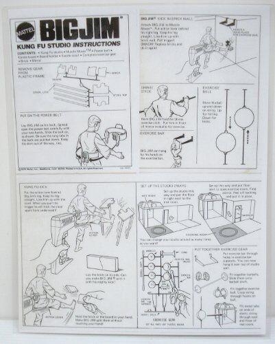 1974 Big Jim Kung Fu Studio Instruction Sheet Copy Laminated